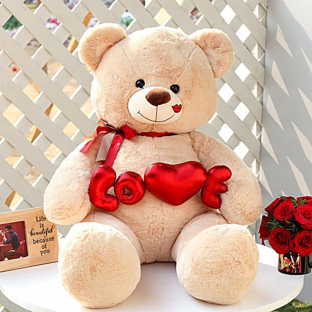 Love Teddy Bear Beige Color Large: Send Soft Toys