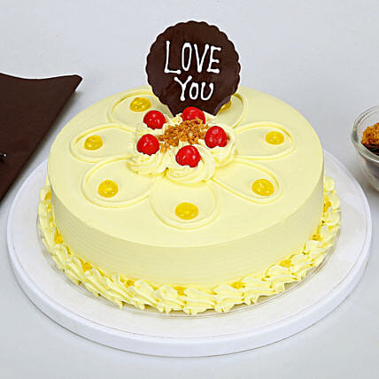 Love You Valentine Butterscotch Cake: Hug Day Gifts