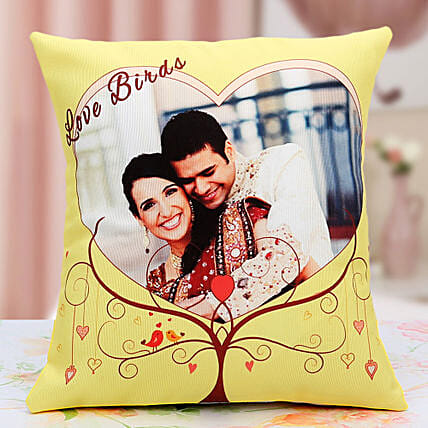 Lovebirds Personalized Cushion: Cushions for birthday