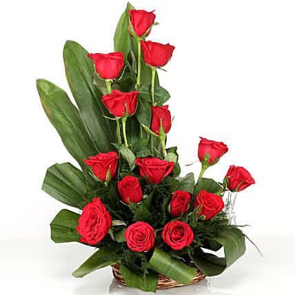 Lovely Red Roses Basket Arrangement: Karwa Chauth Flowers