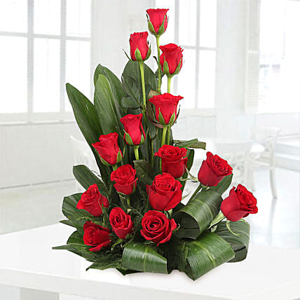 Lovely Red Roses Basket Arrangement: Congratulations