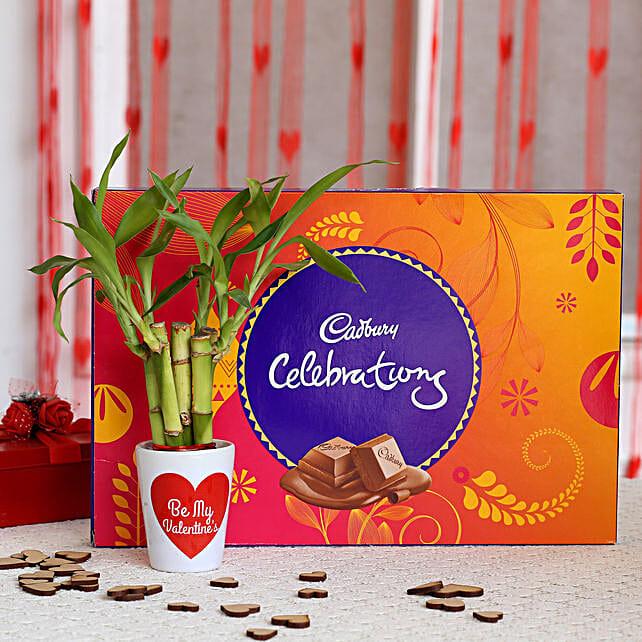 Lucky Bamboo Plant in Valentines Pot & Cadbury Celebrations: Desktop Plants