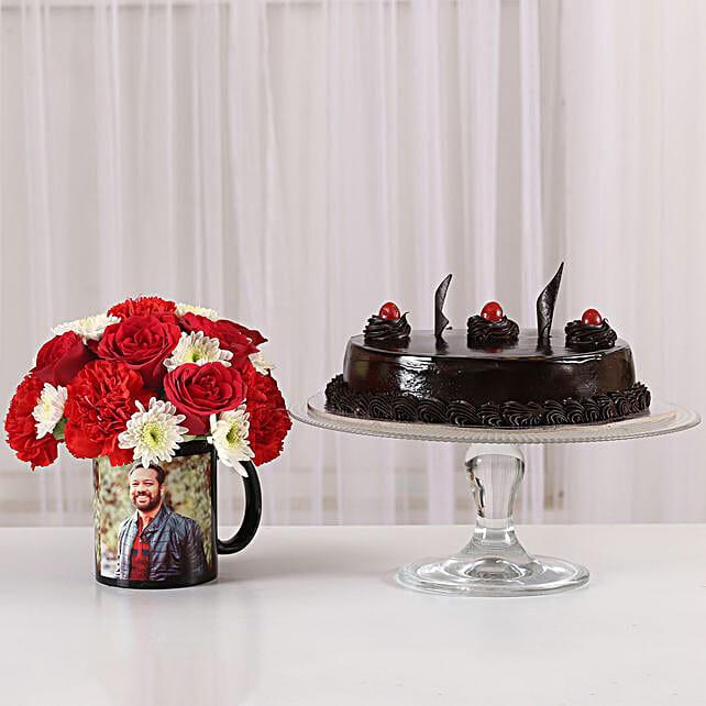 Mixed Flowers Photo Mug & Truffle Cake: Personalised Gifts Combos