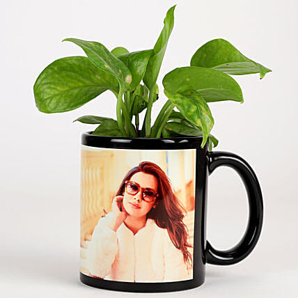 Money Plant In Personalised Mug-Black: Personalised Gifts Combos