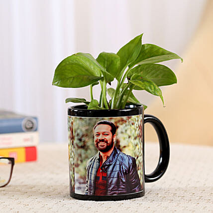 Money Plant In Stylish Personalised Mug: Father's Day Plants