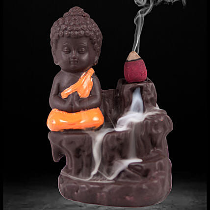 Monk Buddha Incense Burner- Orange: Funny Gifts