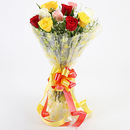 Magical Multicolored Roses Bouquet: Gifts for Hug Day