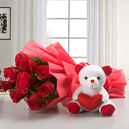 10 Red Roses Bouquet & Teddy Bear Combo: Gifts for Teddy Day