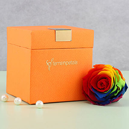 Mystic- Forever Rainbow Rose in Orange Box: Gifts for Hug Day