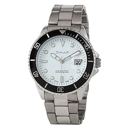Omax Cool Dial Mens Watch White: Mens Accessories