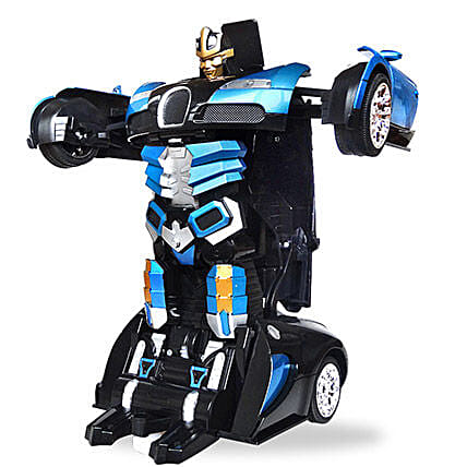 One Button Transforming Car Super Blue: Toys and Games