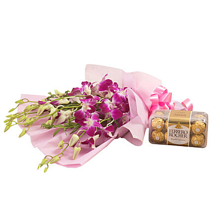 Orchids N Chocolates: Flowers with Chocolates