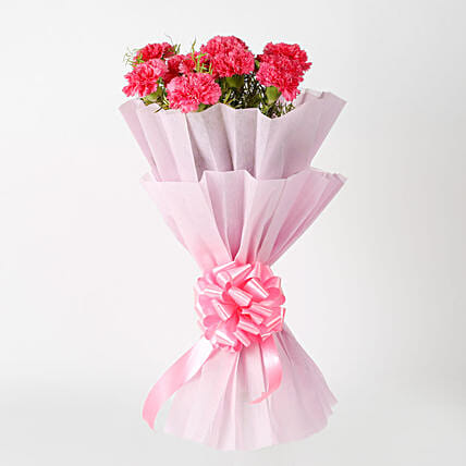 Passionate Pink Carnations Bouquet Send Flowers To Delhi