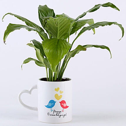 Peace Lily Plant With Promise Love Birds Mug: