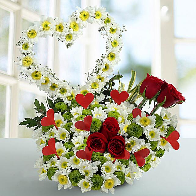 Peace White Daisy Arrangement: Heart Shaped Flower Arrangements