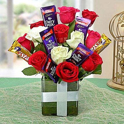 Perfect Choco Flower Arrangement: Return Gifts