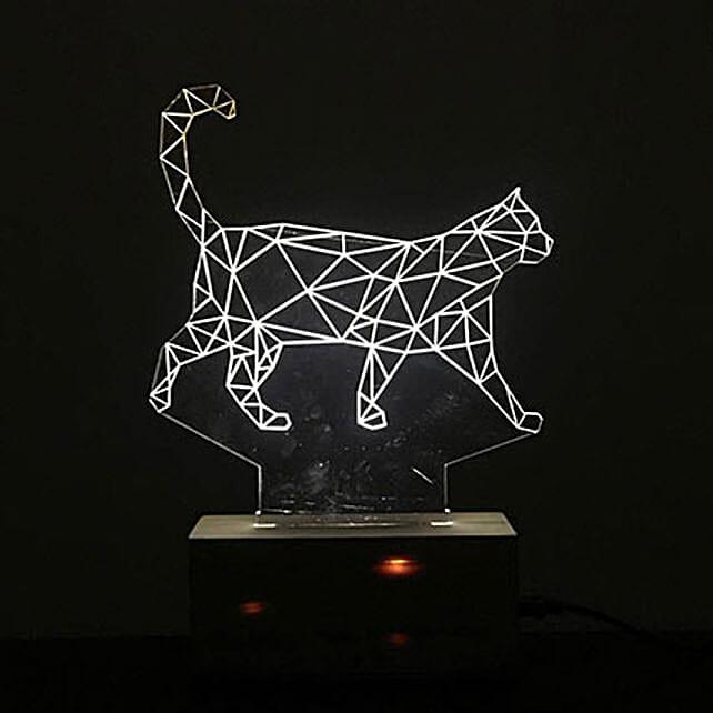 Personalised 3D White Cat Night Lamp: Personalised Lamps