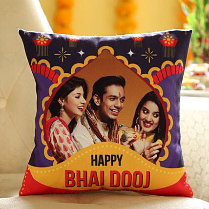 Personalised Bhai Dooj Wishes Cushion: Same Day Delivery Personalised Gifts