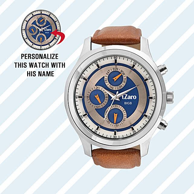 Personalised Blue & Steel Dial Watch: