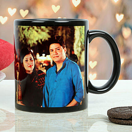 Personalised Couple Black Mug: Custom Photo Coffee Mugs