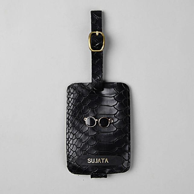 Personalised Croco Black Luggage Tag: Personalised Accessories