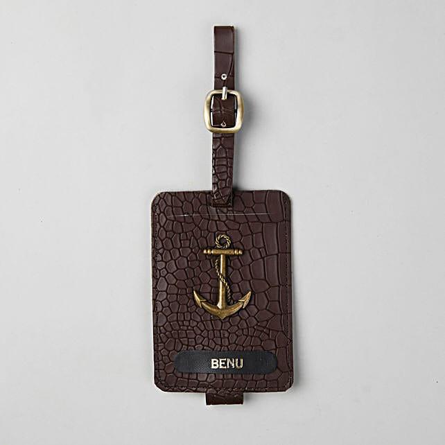 Personalised Croco Brown Luggage Tag:
