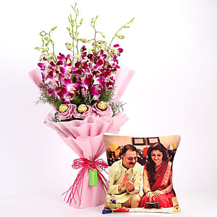 Personalised Cushion & Chocolaty Orchids Bouquet: Flowers N Personalised Gifts