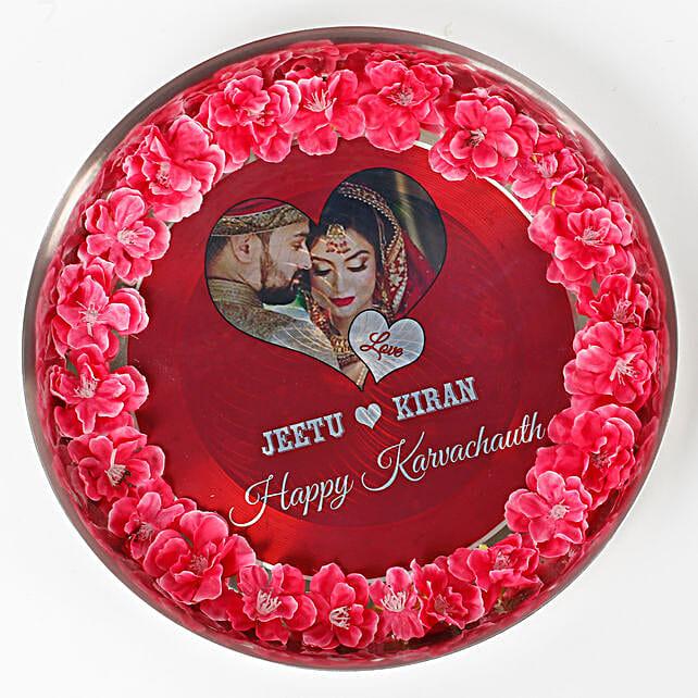 Personalised Decorated Karwa Chauth Thali: Karwa Chauth Pooja Thali