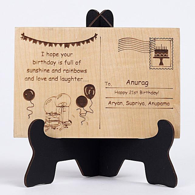 Personalised Engraved Wooden Birthday Postcard: