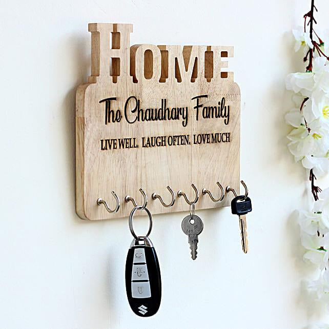 Personalised Engraved Wooden Key Holder: Send Gifts for Men