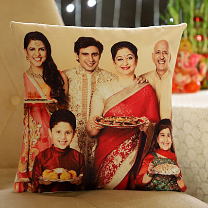 Personalised Happy Family Cushion: Send Personalised Gifts for Diwali