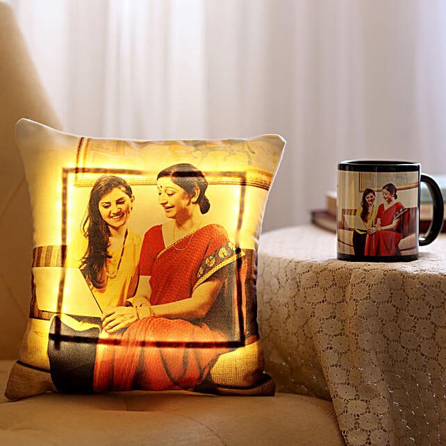 Personalised Mug & LED Cushion Combo For Mom: Cushions