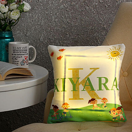 Personalised Name LED Cushion: Personalised Gifts Lucknow