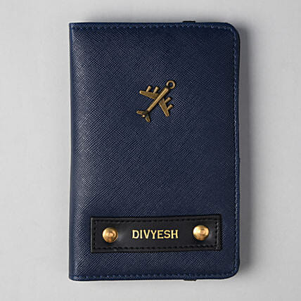 Personalised Navy Blue Passport Cover: