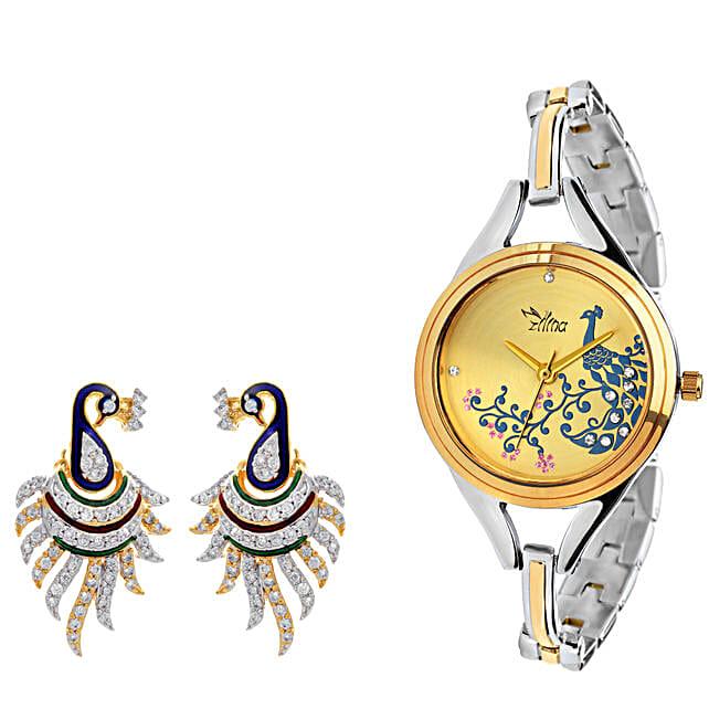 Personalised Peacock Watch & Earrings: Buy Watches