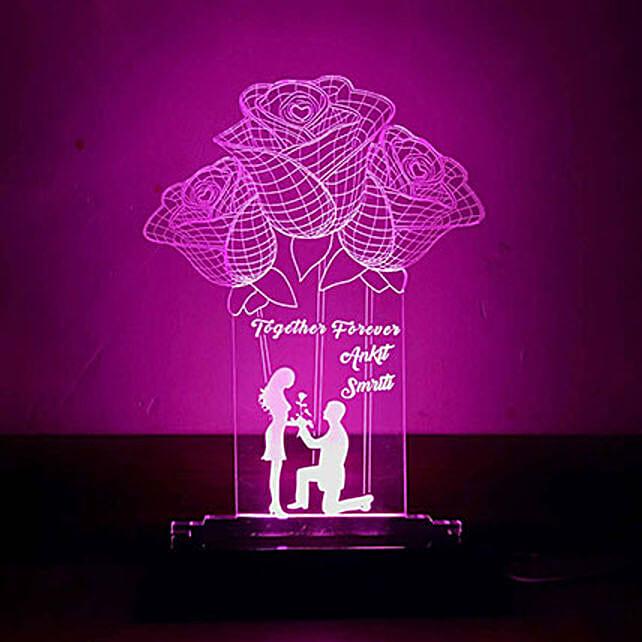 Personalised Purple LED Rose Lamp: