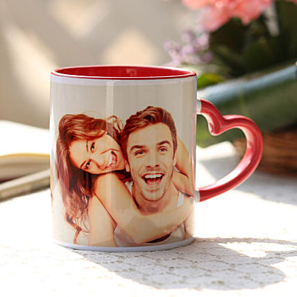 Personalised Red Heart Handle Mug: Gifts to India