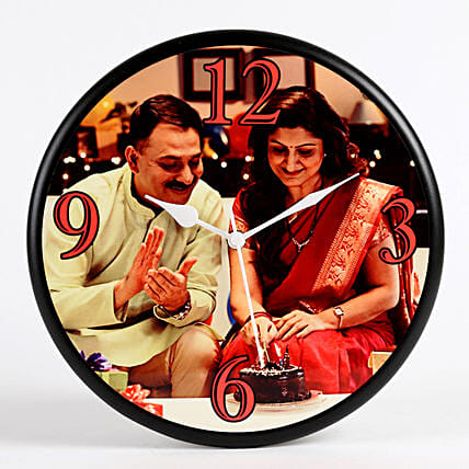 Personalised Round Wall Clock: Anniversary Gifts for Parents