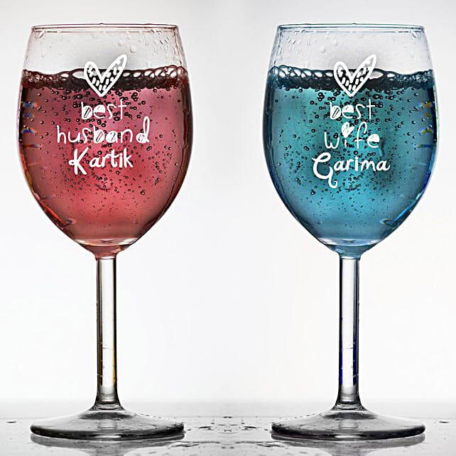 Personalised Set Of 2 Wine Glasses 1023: