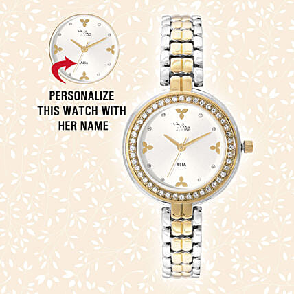 Personalised Silver & Golden Pretty Watch: Personalised Watches