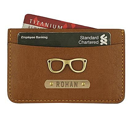 Personalised Tan Brown Card Holder: