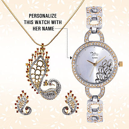 Personalised Watch & Designer Peacock Pendant Set: Jewellery Gifts