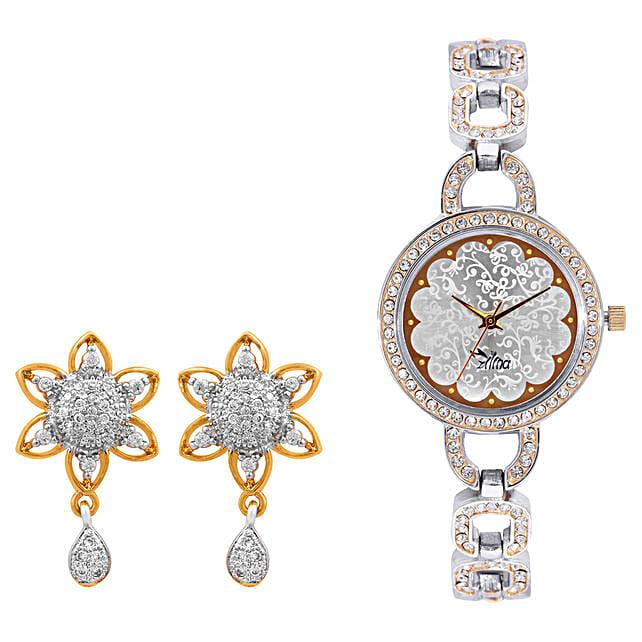 Personalised Watch With Elegant Earrings: Buy Watches