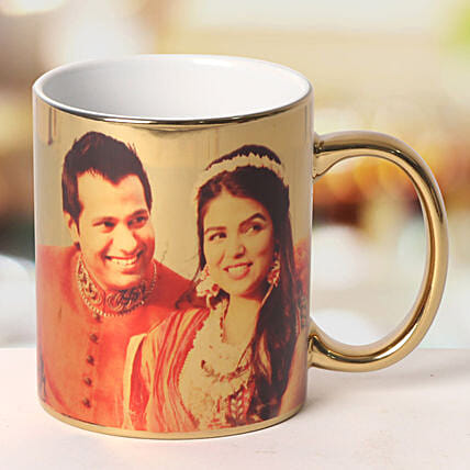 Personalized Ceramic Golden Mug: Custom Photo Coffee Mugs