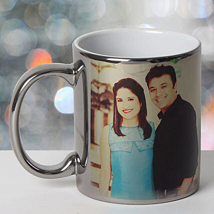 Personalized Ceramic Silver Mug: Send Gifts to Uttar Dinajpur