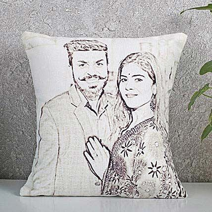 Personalized Couple Sketch Cushion: Caricatures