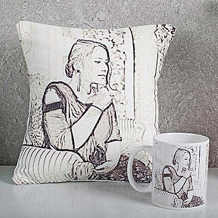 Personalized Sketch Cushion N Mug Combo: Send Caricatures