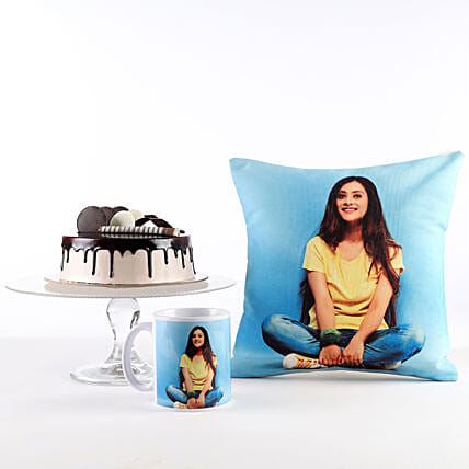 Photo Cushion, Mug & Cake Combo For Her: