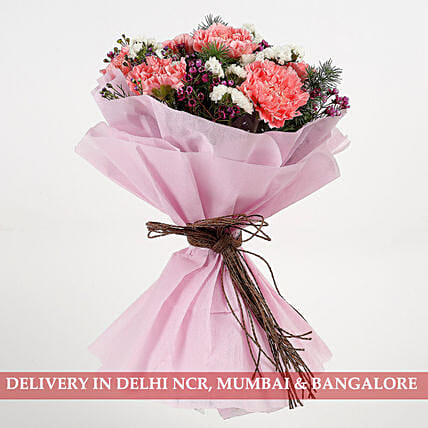 Pink Carnations Wax Flowers Bouquet: Send Carnations