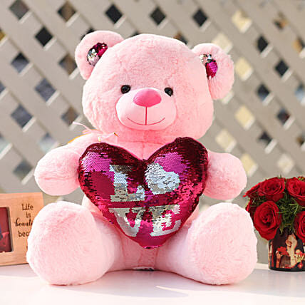 Pink Color Sequin Love Teddy Bear: Valentines Day Soft toys